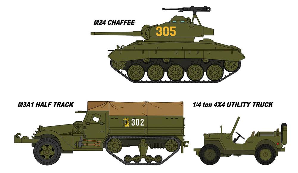M24 チャーフィー & M3A1 ハーフトラック & 1/4トン 4×4トラック 陸上自衛隊/警察予備隊(プラモデル)(ハセガワ1/72 ミニボックスシリーズNo.30056)商品画像_2