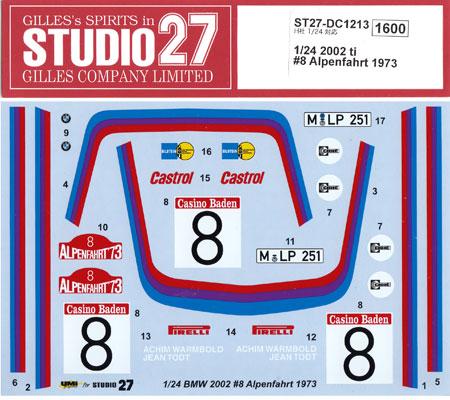 BMW 2002 ti #8 アルペンファート 1973 デカールデカール(スタジオ27ラリーカー オリジナルデカールNo.DC1213)商品画像