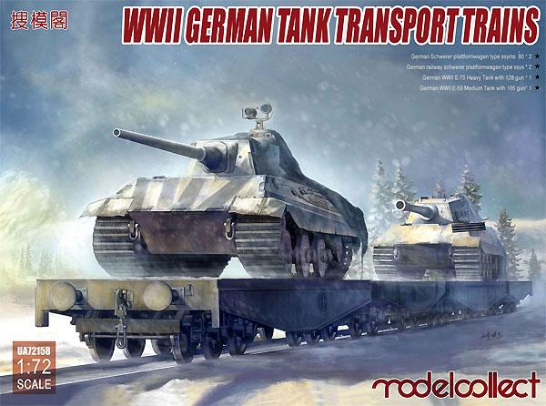 WW2 ドイツ 戦車輸送貨車セットプラモデル(モデルコレクト1/72 AFV キットNo.UA72158)商品画像