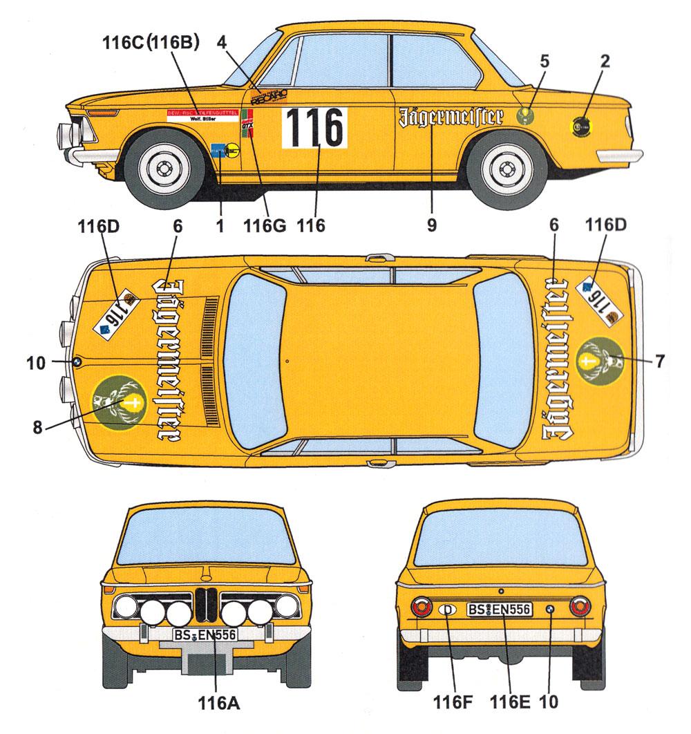 BMW 2002 ti #116/#260 オリンピアラリー 1973 デカールデカール(スタジオ27ラリーカー オリジナルデカールNo.DC1216)商品画像_3