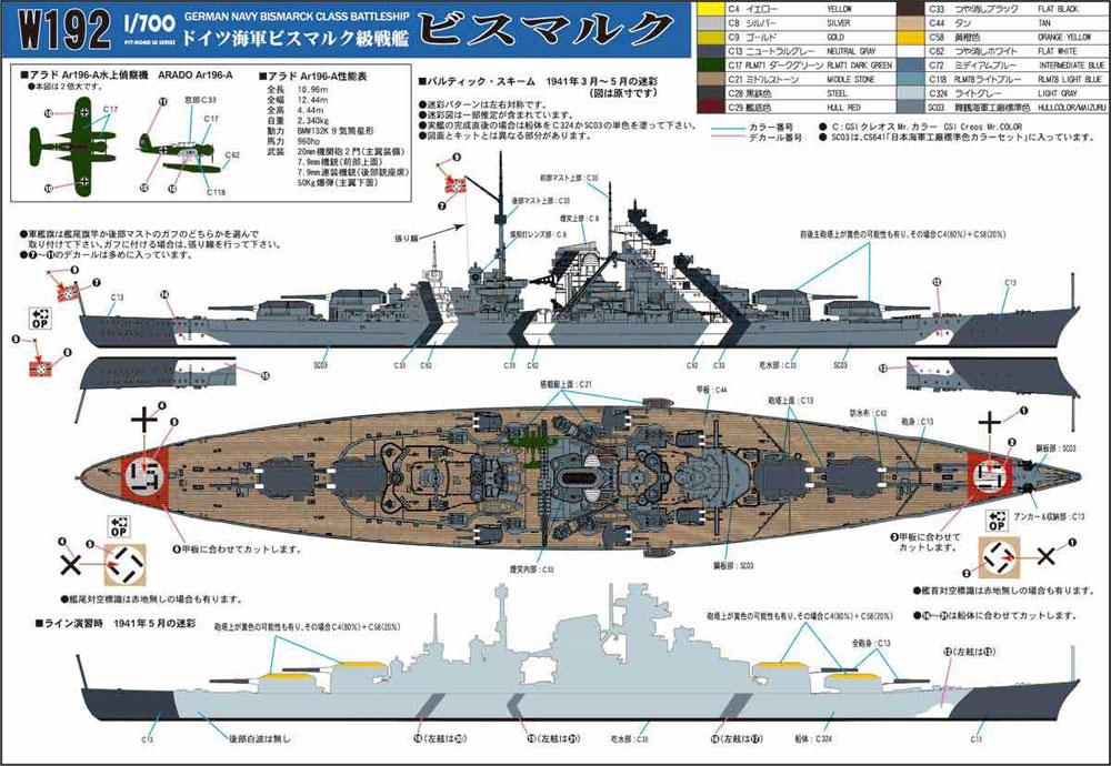 ドイツ海軍 ビスマルク級戦艦 ビスマルクプラモデル(ピットロード1/700 スカイウェーブ W シリーズNo.W192)商品画像_2
