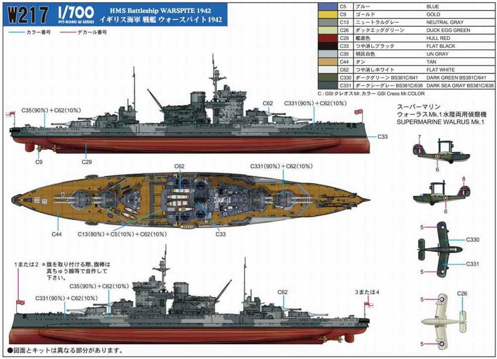 イギリス海軍 クイーン・エリザベス級戦艦 ウォースパイト 1942プラモデル(ピットロード1/700 スカイウェーブ W シリーズNo.W217)商品画像_1