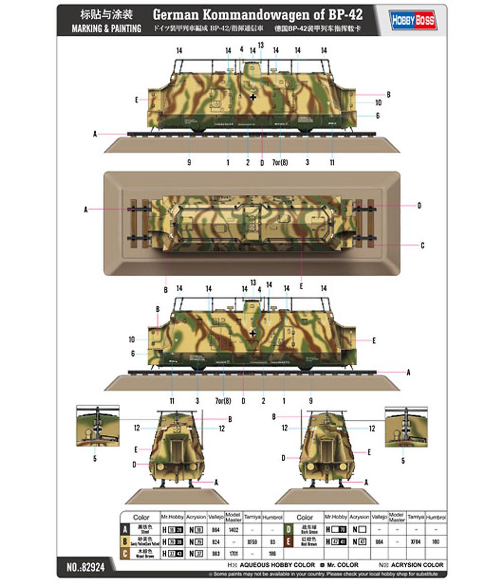 ドイツ 装甲列車編成 BP-42/指揮通信車プラモデル(ホビーボス1/72 ファイティングビークル シリーズNo.82924)商品画像_2