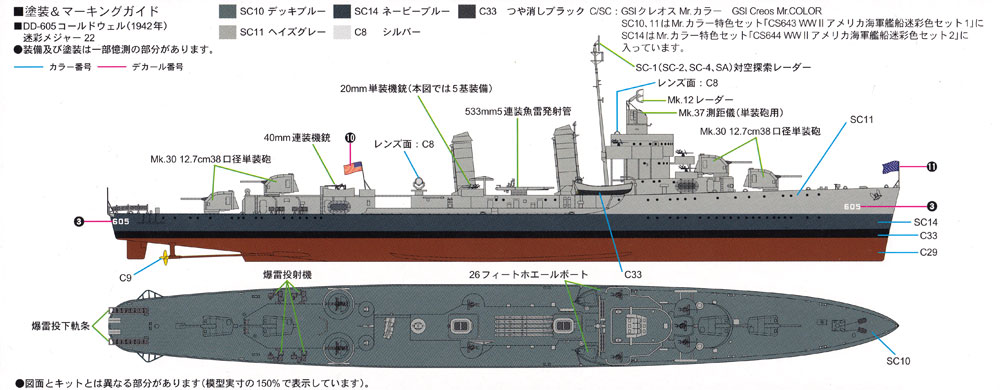 アメリカ海軍 ベンソン級駆逐艦 DD-605 コールドウェルプラモデル(ピットロード1/700 スカイウェーブ W シリーズNo.W212)商品画像_1