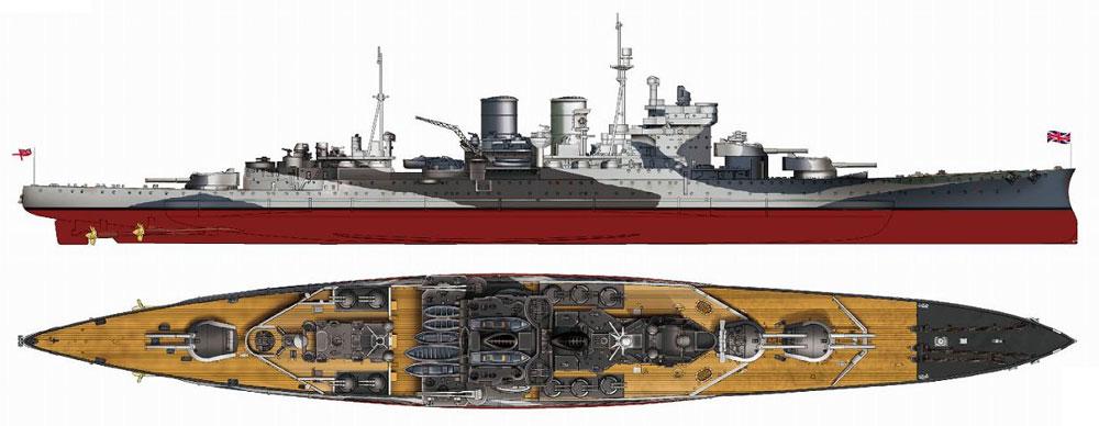 イギリス海軍 レナウン級巡洋戦艦 レナウン 1945プラモデル(ピットロード1/700 スカイウェーブ W シリーズNo.W221)商品画像_1