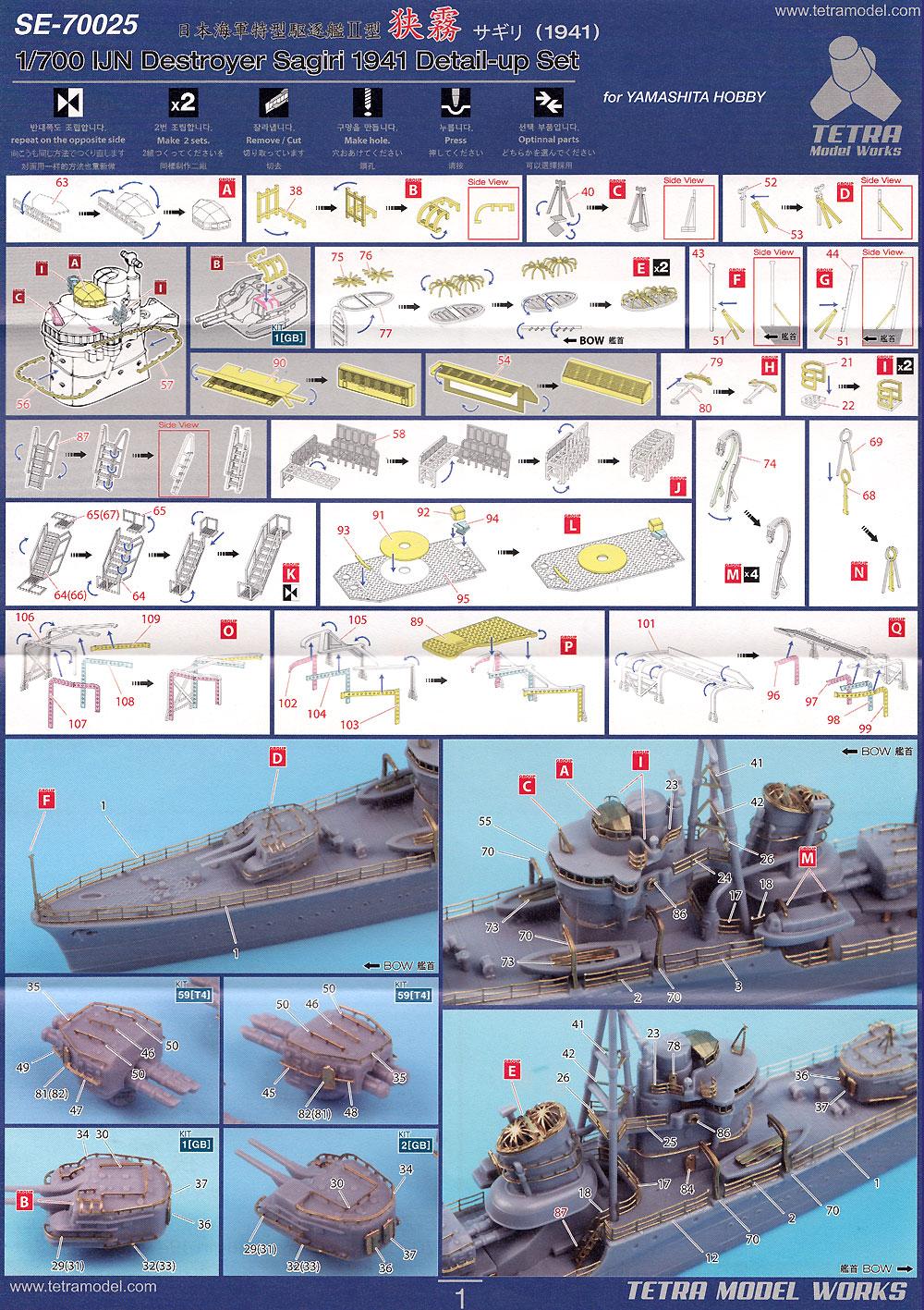 日本海軍 駆逐艦 狭霧 1941 ディテールアップセット (ヤマシタホビー用)エッチング(テトラモデルワークス艦船 エッチングパーツNo.SE-70025)商品画像_2