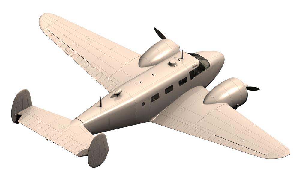 ビーチクラフト C18S 軽旅客機プラモデル(ICM1/48 エアクラフト プラモデルNo.48185)商品画像_3