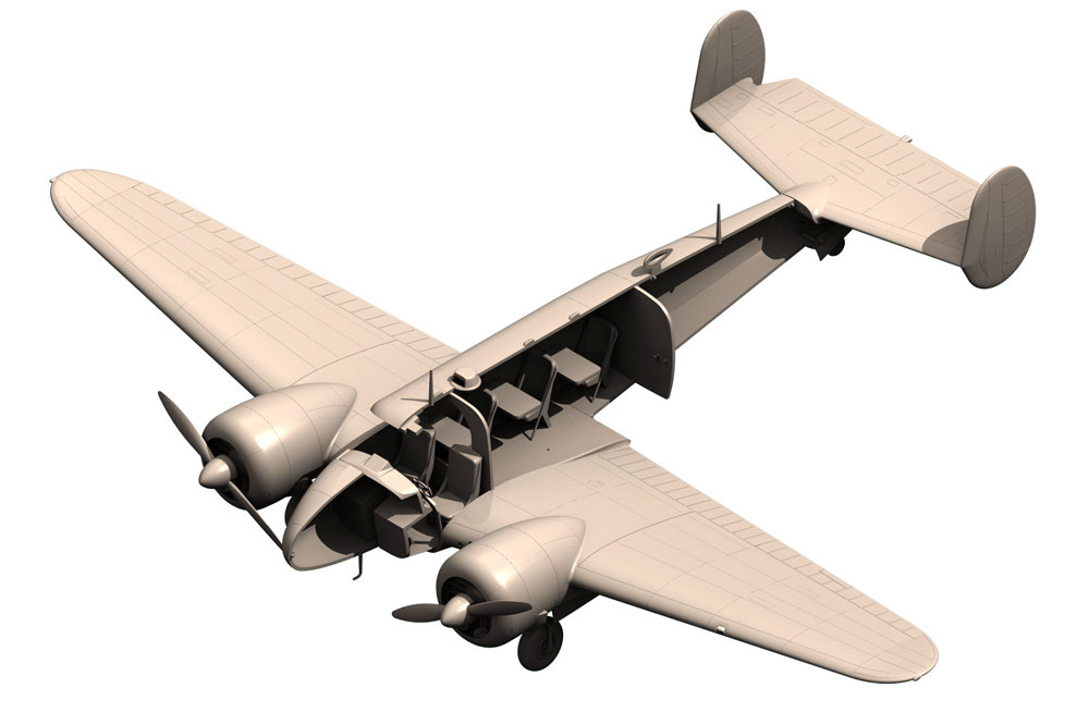 ビーチクラフト C18S 軽旅客機プラモデル(ICM1/48 エアクラフト プラモデルNo.48185)商品画像_4