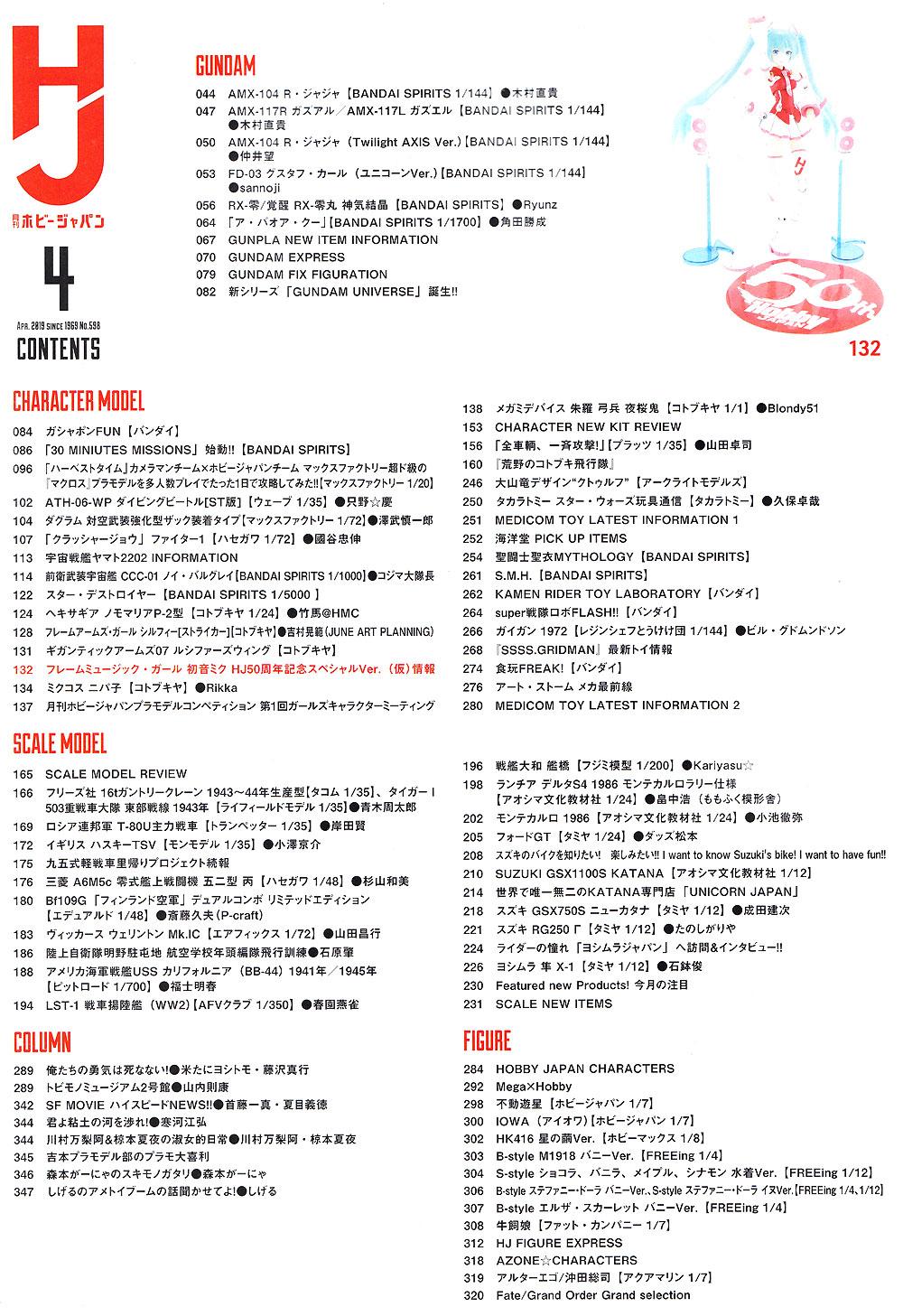 ホビージャパン 2019年4月雑誌(ホビージャパン月刊 ホビージャパンNo.598)商品画像_2