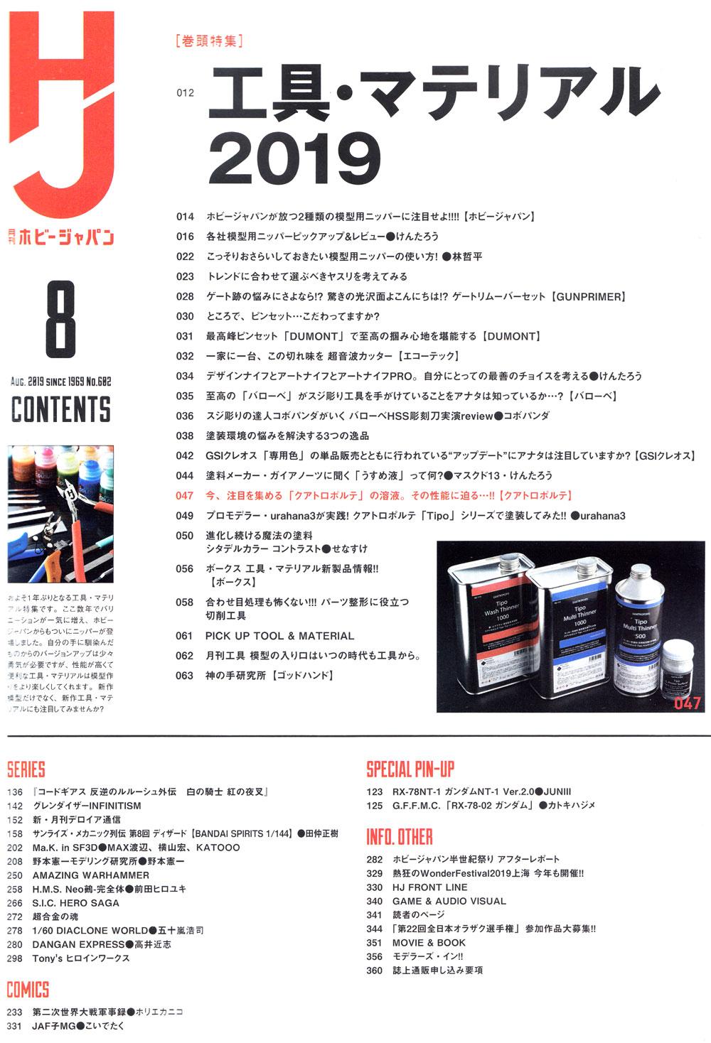 ホビージャパン 2019年8月雑誌(ホビージャパン月刊 ホビージャパンNo.602)商品画像_1