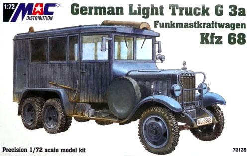 ドイツ 1.5tトラック G3a Kfz.68 無線通信用アンテナ搭載車プラモデル(MAC DISTRIBUTION1/72 AFVモデルNo.72139)商品画像