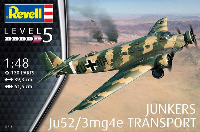 ユンカース Ju52/3mg4e 輸送機プラモデル(レベル1/48 飛行機モデルNo.03918)商品画像