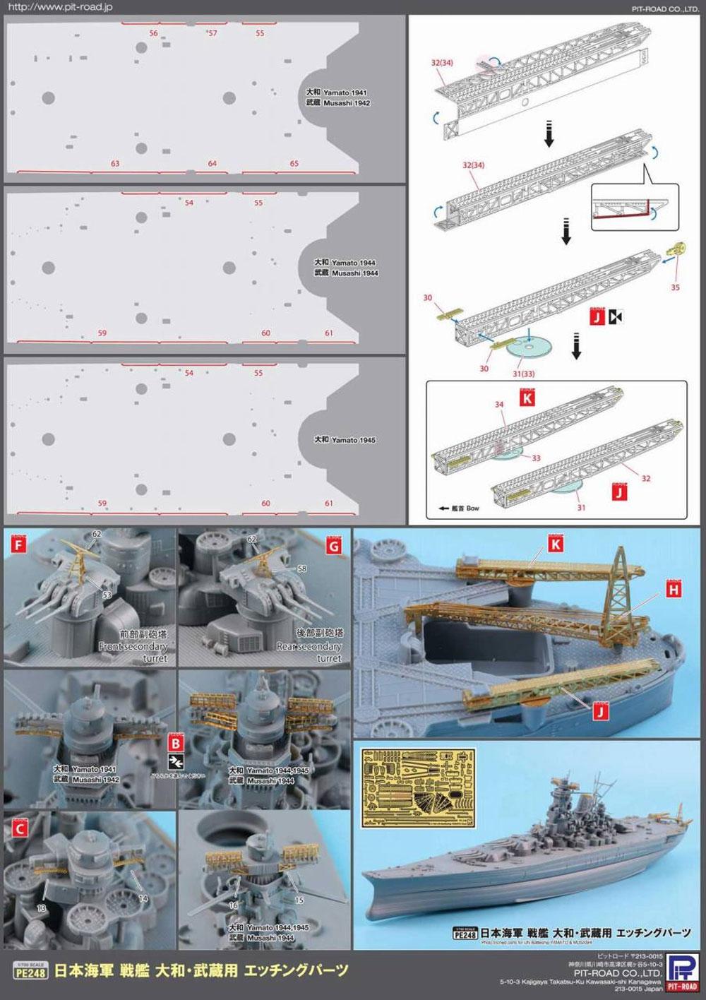 日本海軍 戦艦 武蔵 レイテ沖海戦時 エッチングパーツ付プラモデル(ピットロード1/700 スカイウェーブ W シリーズNo.W201E)商品画像_4