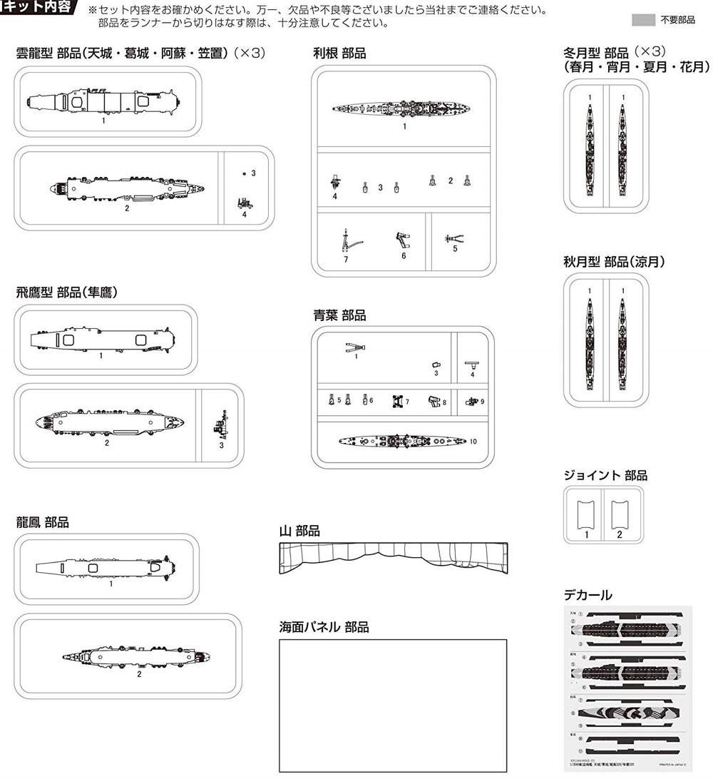終戦時残存艦艇セット (雲龍型/龍鳳型/飛鷹型/青葉)プラモデル(フジミ集める軍艦シリーズNo.019)商品画像_2