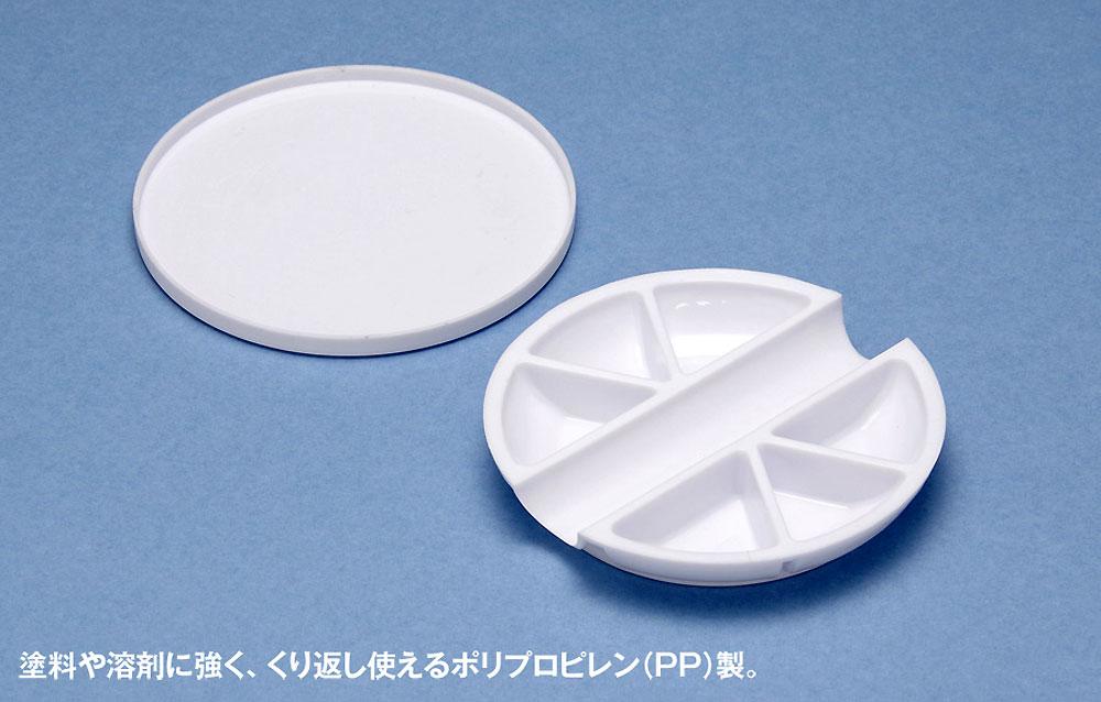 白い塗料皿 6マス & 筆置きタイプ皿(ウェーブマテリアルNo.OM-186)商品画像_1