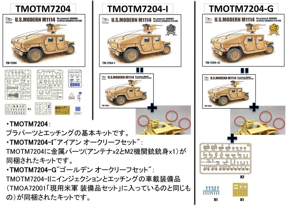 M1114 ハンヴィー w/M153 クロウ 2 システム ゴールデンオークリーフセットプラモデル(ティーモデル1/72 ミリタリー プラモデルNo.TM7204-G)商品画像_4