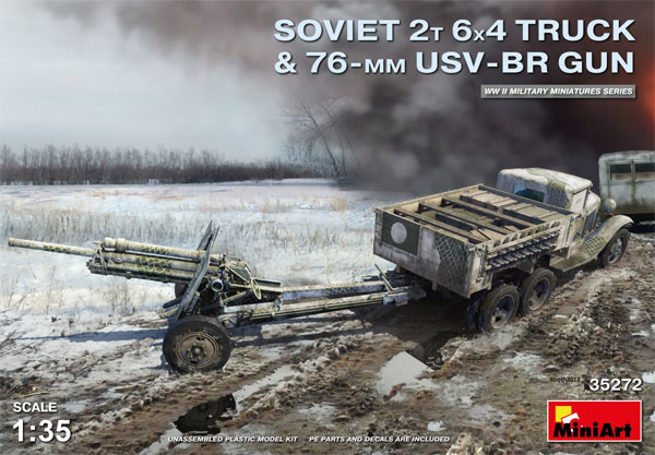 ソビエト 2トン 6x4 トラック w/76mm USV-BRプラモデル(ミニアート1/35 WW2 ミリタリーミニチュアNo.35272)商品画像