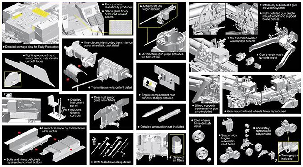 アメリカ M7 プリースト 初期生産型 w/マジックトラックプラモデル(ドラゴン1/35 '39-'45 SeriesNo.6817)商品画像_2