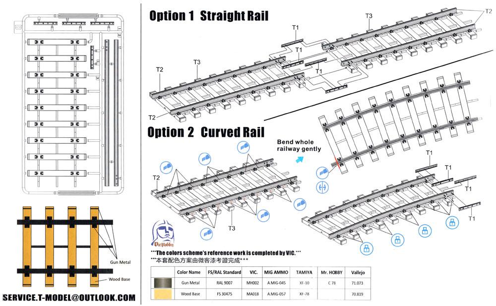 ヨーロッパ鉄道軌道 汎用セット 直線と曲線レールプラモデル(ティーモデル1/35 ミリタリー プラモデルNo.TK3505)商品画像_1