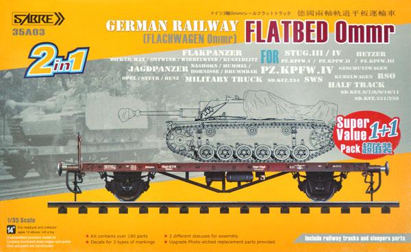 ドイツ Ommr 平貨車 2 in 1 w/線路 2キット入り スペシャルパックプラモデル(サーベルモデル1/35 ミリタリーNo.35A003-SVP)商品画像