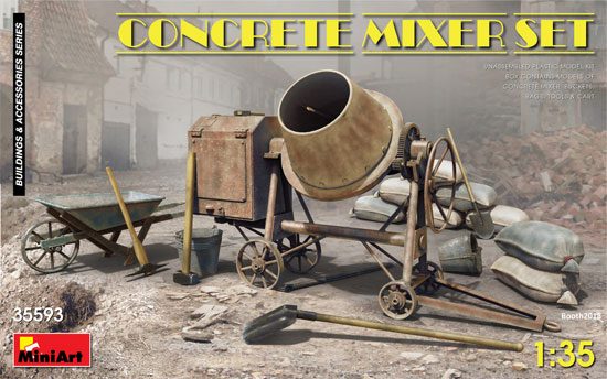 コンクリートミキサーセットプラモデル(ミニアート1/35 ビルディング&アクセサリー シリーズNo.35593)商品画像