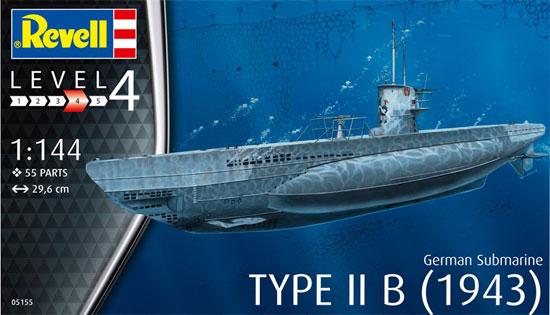 ドイツ 潜水艦 Type2B 1943プラモデル(レベル1/144 艦船モデルNo.05155)商品画像