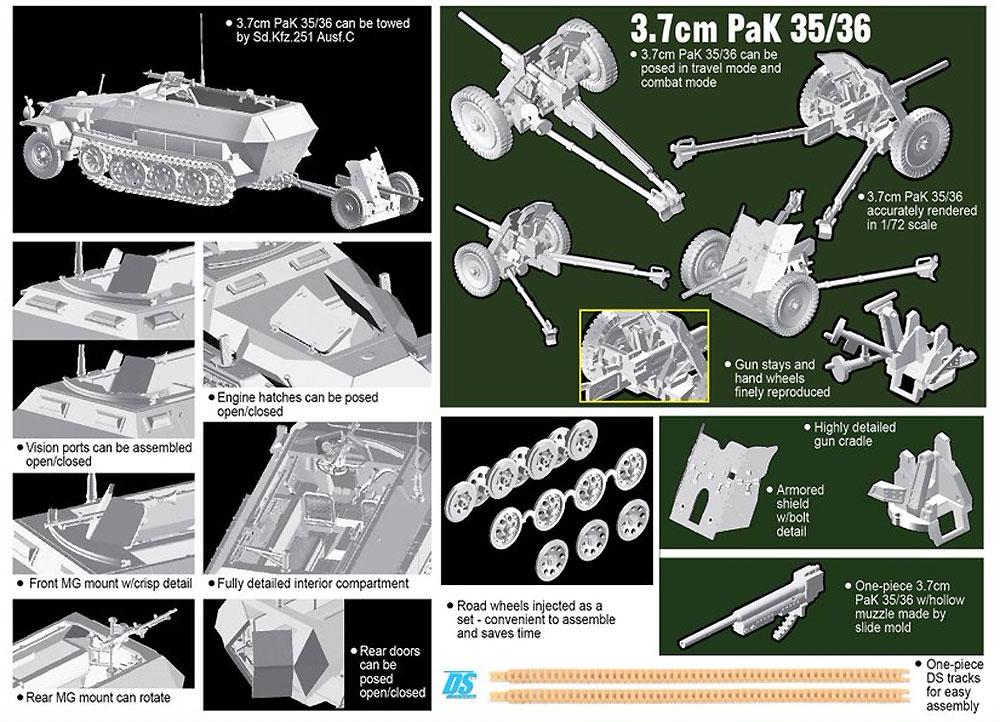 ドイツ Sd.Kfz.251Ausf.C + 3.7cm PaK35/36プラモデル(ドラゴン1/72 ARMOR PRO (アーマープロ)No.7611)商品画像_2