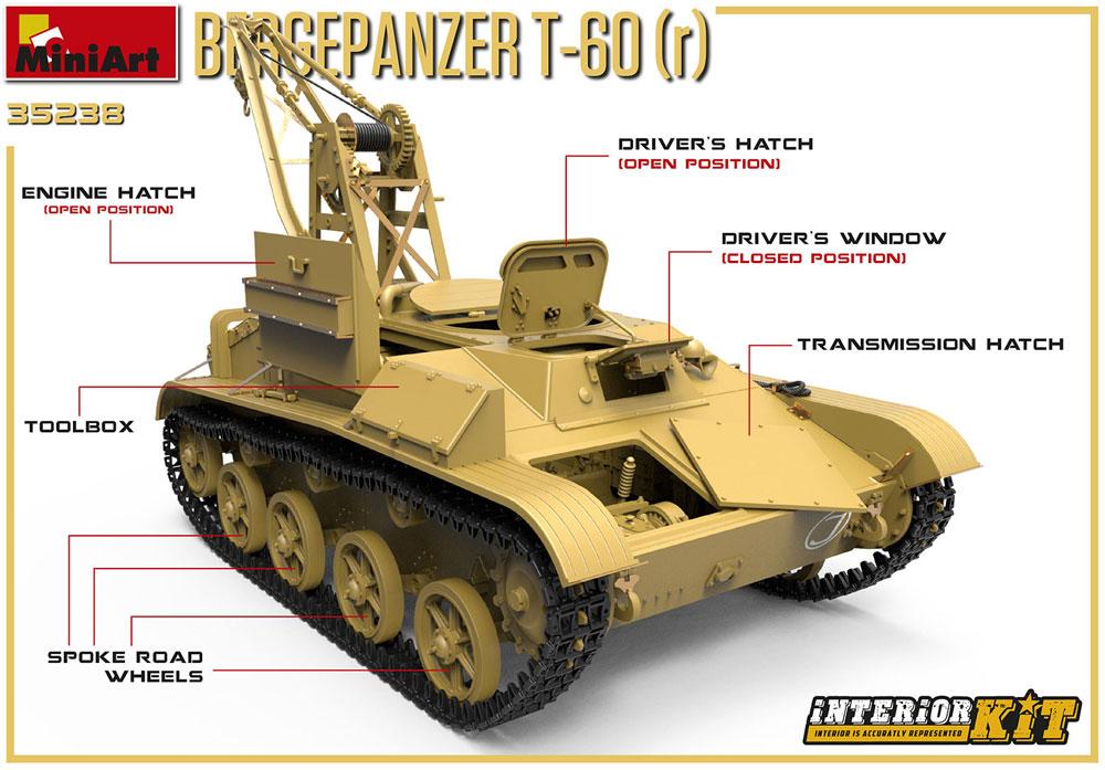T-60r 戦車回収車 フルインテリアプラモデル(ミニアート1/35 WW2 ミリタリーミニチュアNo.35238)商品画像_2