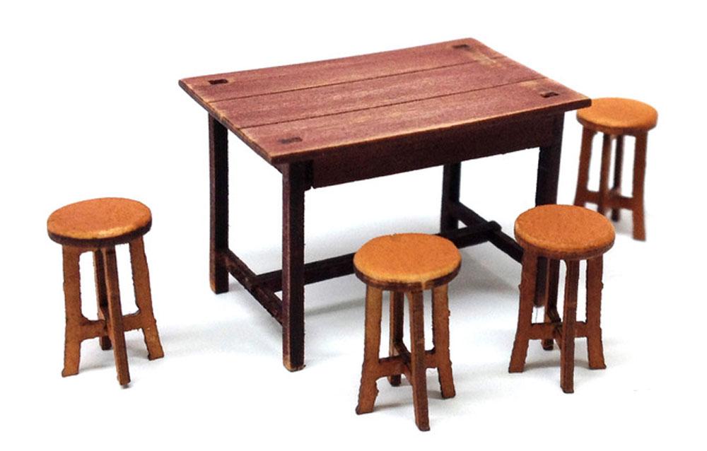 テーブルと椅子のセット木製模型(トワイライトモデルたそがれの昭和 トワイライト シリーズNo.TAS-003)商品画像_1