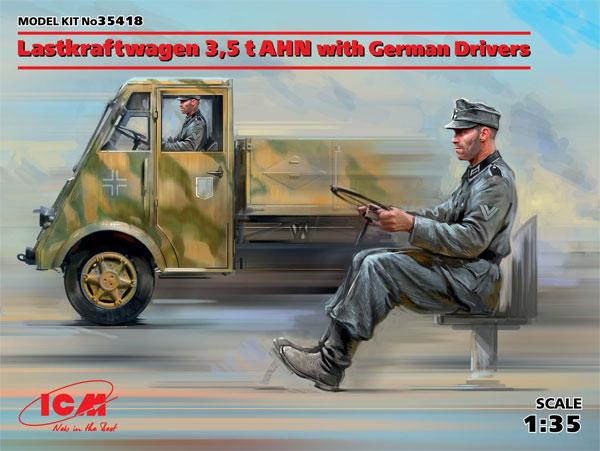 ルノー AHN 3.5t ドイツ アーミートラック w/ドライバープラモデル(ICM1/35 ミリタリービークル・フィギュアNo.35418)商品画像