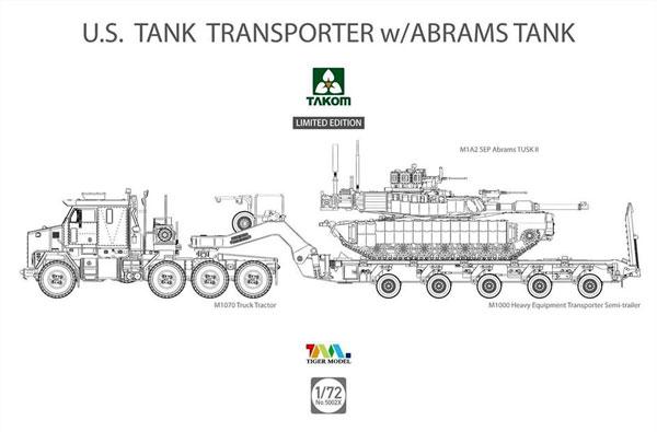 アメリカ M1070 & M1000 70トン 戦車運搬車 w/M1A2 SEP エイブラムス TUSK 2プラモデル(タコム1/72 AFVNo.5002X)商品画像