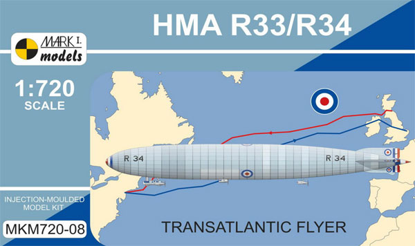 イギリス R33/R34 飛行船 大西洋横断機プラモデル(MARK 1ミリタリー インジェクションキットNo.MKM720-08)商品画像