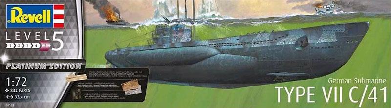 ドイツ潜水艦 Type7C/41 プレミアムエディションプラモデル(レベル1/72 艦船モデルNo.05163)商品画像