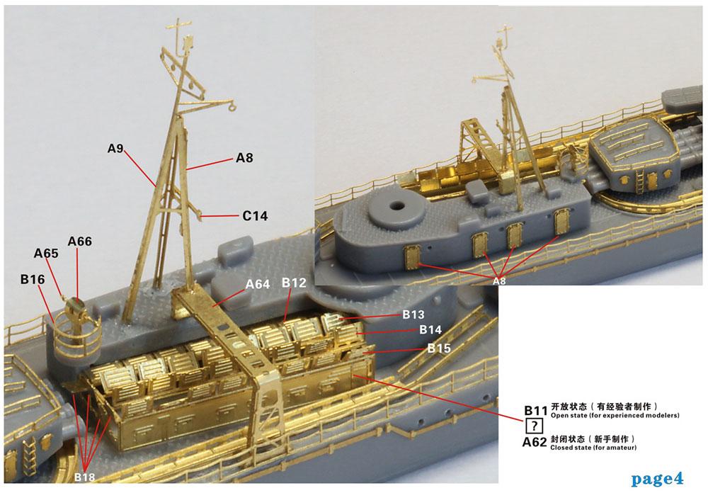 日本海軍 朝潮型 駆逐艦 前期型 アップグレードセット (ハセガワ用)エッチング(ファイブスターモデル1/700 艦船用 アップグレード エッチングNo.FS710258)商品画像_4