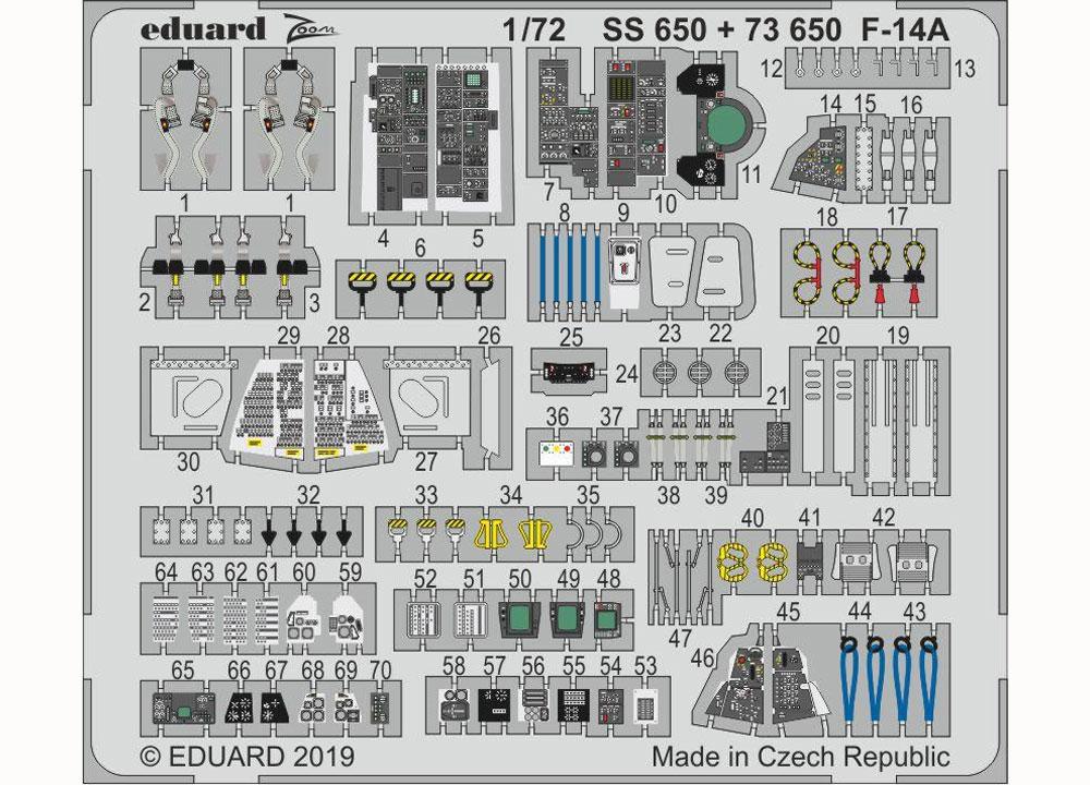 F-14A トムキャット ズームエッチングパーツ (ファインモールド用)エッチング(エデュアルド1/72 エアクラフト用 カラーエッチング ズーム (SS-X)No.SS650)商品画像_1