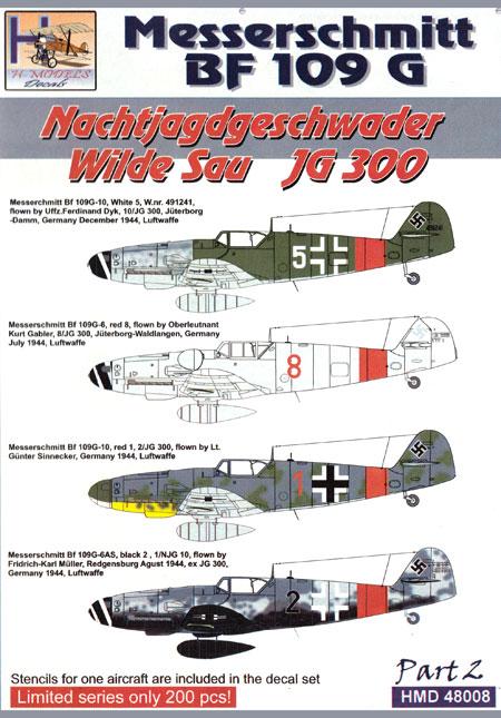 メッサーシュミット Bf109G-6/10 ヴィルデザウ JG300 パート2デカール(H Model1/48 デカールNo.HDM48008)商品画像