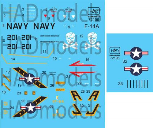 アメリカ海軍 F-14A トムキャット VF-84 ジョリーロジャーズ #201 ハイビジ デカールデカール(HAD MODELS1/72 デカールNo.HAD72196)商品画像