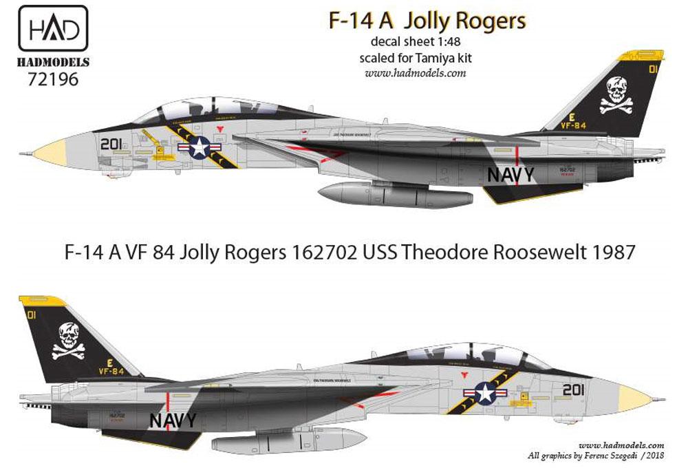 アメリカ海軍 F-14A トムキャット VF-84 ジョリーロジャーズ #201 ハイビジ デカールデカール(HAD MODELS1/72 デカールNo.HAD72196)商品画像_1