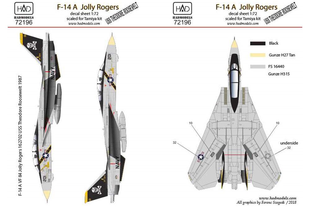 アメリカ海軍 F-14A トムキャット VF-84 ジョリーロジャーズ #201 ハイビジ デカールデカール(HAD MODELS1/72 デカールNo.HAD72196)商品画像_2