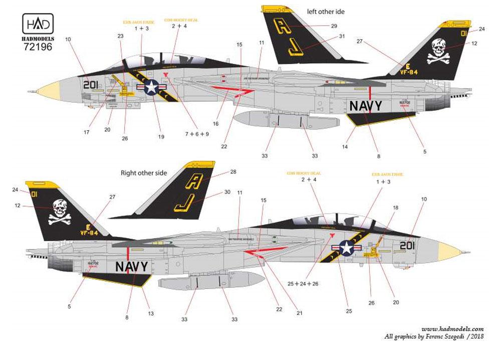 アメリカ海軍 F-14A トムキャット VF-84 ジョリーロジャーズ #201 ハイビジ デカールデカール(HAD MODELS1/72 デカールNo.HAD72196)商品画像_3
