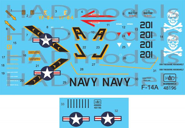 アメリカ海軍 F-14A トムキャット VF-84 ジョリーロジャーズ #201 セオドア・ルーズベルト搭載機 ハイビジ デカールデカール(HAD MODELS1/48 デカールNo.HAD48196)商品画像
