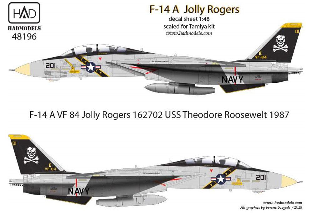 アメリカ海軍 F-14A トムキャット VF-84 ジョリーロジャーズ #201 セオドア・ルーズベルト搭載機 ハイビジ デカールデカール(HAD MODELS1/48 デカールNo.HAD48196)商品画像_1