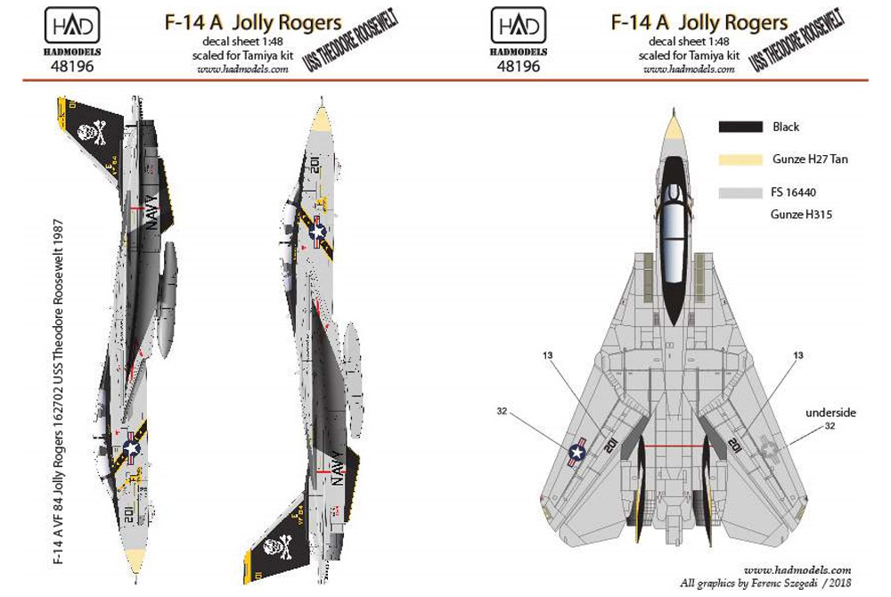 アメリカ海軍 F-14A トムキャット VF-84 ジョリーロジャーズ #201 セオドア・ルーズベルト搭載機 ハイビジ デカールデカール(HAD MODELS1/48 デカールNo.HAD48196)商品画像_2