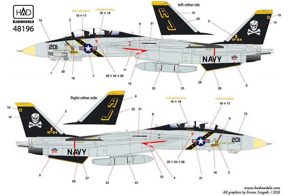 アメリカ海軍 F-14A トムキャット VF-84 ジョリーロジャーズ #201 セオドア・ルーズベルト搭載機 ハイビジ デカールデカール(HAD MODELS1/48 デカールNo.HAD48196)商品画像_3