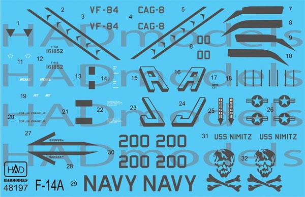 アメリカ海軍 F-14A トムキャット VF-84 ジョリーロジャーズ #200 ロービジ デカールデカール(HAD MODELS1/48 デカールNo.HAD48197)商品画像