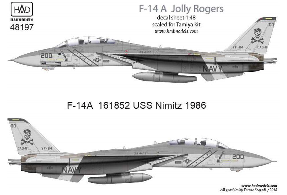 アメリカ海軍 F-14A トムキャット VF-84 ジョリーロジャーズ #200 ロービジ デカールデカール(HAD MODELS1/48 デカールNo.HAD48197)商品画像_1