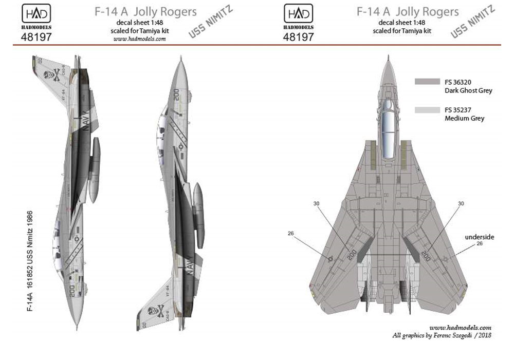 アメリカ海軍 F-14A トムキャット VF-84 ジョリーロジャーズ #200 ロービジ デカールデカール(HAD MODELS1/48 デカールNo.HAD48197)商品画像_2