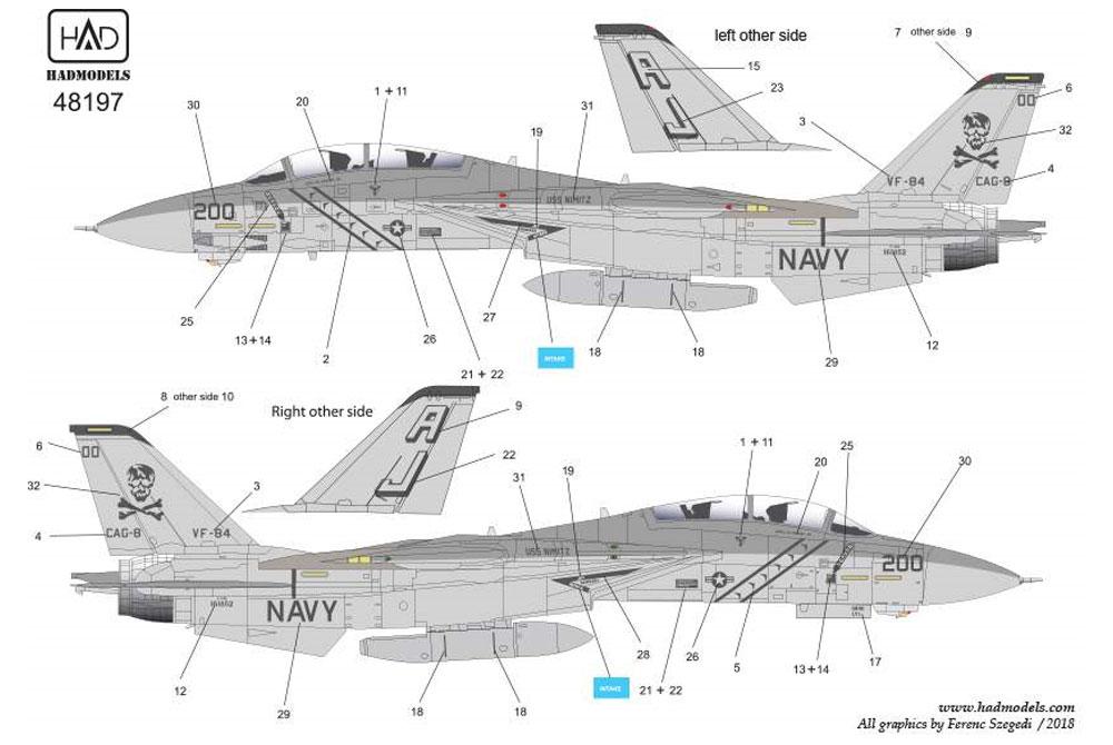 アメリカ海軍 F-14A トムキャット VF-84 ジョリーロジャーズ #200 ロービジ デカールデカール(HAD MODELS1/48 デカールNo.HAD48197)商品画像_3