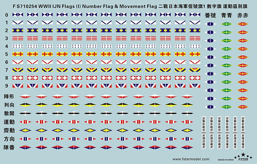 日本海軍 信号旗 1 数字旗 運動区別旗デカール(ファイブスターモデル1/700 艦船用 汎用 ディテールアップパーツNo.FS710254)商品画像_1