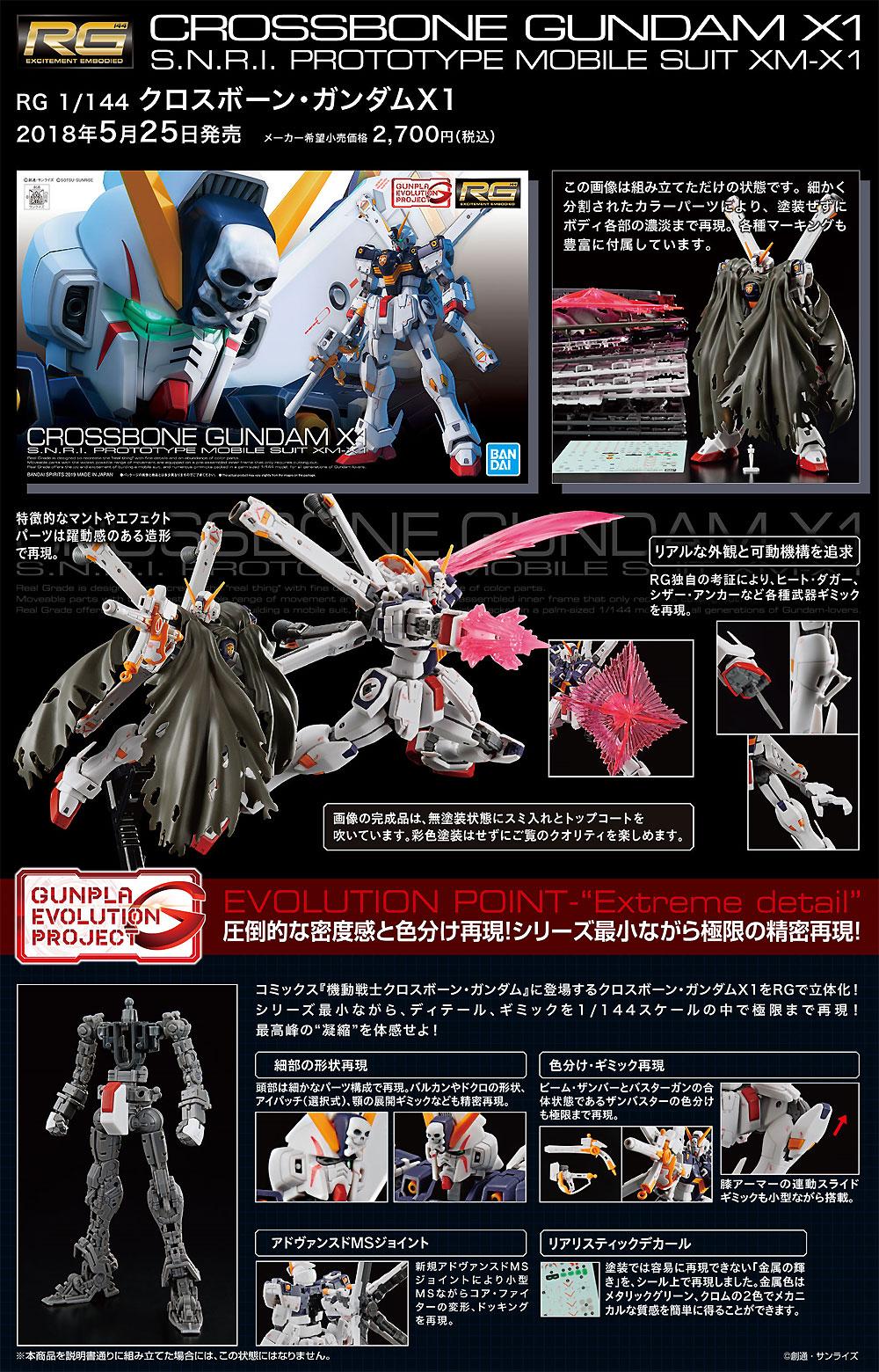XM-X1 クロスボーン ガンダム X1プラモデル(バンダイRG (リアルグレード)No.031)商品画像_4